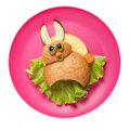Funny sandwich hare made on pink plate