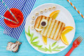 Funny sandwich like a fish for kids Royalty Free Stock Photo