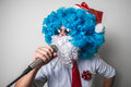 Funny santa claus babbo natale singing Royalty Free Stock Photo