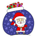 Funny Santa claus with bag full of gifts Stock Photography
