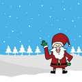 Funny santa claus cartoon hand drawn Stock Photos