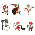 Funny santa claus cartoon hand drawn Stock Image