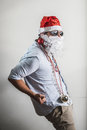 Funny santa claus dancing babbo natale on white background Stock Photography