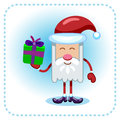 Funny santa claus and gift holds a Royalty Free Stock Images