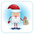 Funny santa claus and money holds a sack with Stock Photos