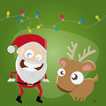 Funny santa claus and reindeer illustration of Royalty Free Stock Photography