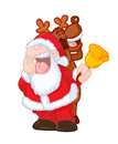 FUNNY SANTA CLAUS AND REINDEER SINGING Royalty Free Stock Photos