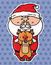 Funny santa and deer vector illustration of kawaii which is holding Stock Photo