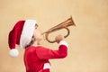 Funny Santa kid with horn Royalty Free Stock Photo