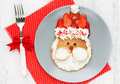 Funny santa pancake with mascarpone and strawberry Royalty Free Stock Photo