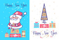 Funny santa set . Christmas greeting card background poster. Vector illustration.