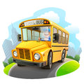 Funny school bus illustration Royalty Free Stock Photo