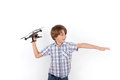 Funny schoolboy playing with drone Royalty Free Stock Photo