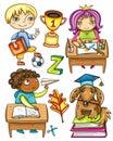 Funny schoolchildren series 1 Royalty Free Stock Photo