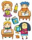 Funny schoolchildren series 2 Royalty Free Stock Photo