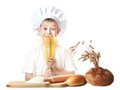 Funny scullion with spaghetti hands Royalty Free Stock Photo