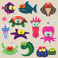 Funny sea animal stickers set vector of cartoon animals fishes octopuses crabes seastars etc Stock Photos