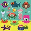 Funny sea animals set Royalty Free Stock Photo