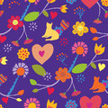 Funny seamless floral pattern with cat retro design Stock Images