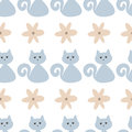 Funny seamless pattern with cute cats and flowers.