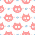 Funny seamless pattern. Repeated smiling cat`s heads and human lips.