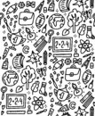 Funny seamless pattern with school supplies and creative elements. Back to school background for education, science objects and