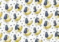 stock image of  Funny seamless vector background with doves-bananas and sunflower seeds