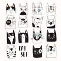 Funny set of vector cats