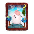 Funny sheep made of felt handmade panno with a surprised and frog hanging on the moon ​​of isolated on white background Royalty Free Stock Image