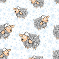 Funny sheep with snowflakes seamless pattern winter faunny curly and symbol year use for fabric wallpaper background wrapping Royalty Free Stock Images