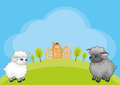 Funny sheep vector background
