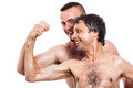 Funny shirtless men compare biceps comparing isolated on white background Royalty Free Stock Photo