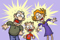 Funny shocked family cartoon illustration of a with shoked frightened expressions Royalty Free Stock Photo