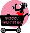 Funny shopping comic book style illustrated woman in a cart with the text Royalty Free Stock Photos