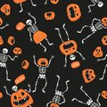 Funny Skeletons With Pumpkins....