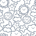 Funny sketching line style illustration of star, sun, cloud, moon Royalty Free Stock Photo