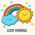 Funny sketching smiling sun, cloud and rainbow. Vector cartoon i