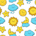 Funny sketching star, sun, cloud, moon. Vector seamless cartoon Royalty Free Stock Photo