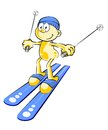 Funny skier conceptual illustration about skiing and winter sports Royalty Free Stock Images