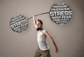 Funny skinny man defeating stress