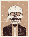 Funny skull hipster character with a mustache and beard. Typographic retro grunge Halloween poster. Vector illustration. Royalty Free Stock Photo