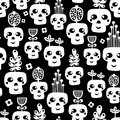 Funny skull seamless pattern with flowers vector illustration Royalty Free Stock Images