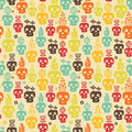 Funny skull seamless pattern with plants and flowers vector illustration Royalty Free Stock Photo