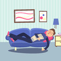 Funny sleeping man at home sofa with newspaper. Relaxing person vector illustration