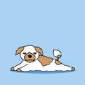 Funny sleepy dog vector hand drawing illustration design