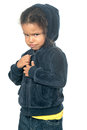Funny small afroamerican girl wearing a hood Royalty Free Stock Photo