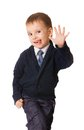 Funny small boy pull humorous faces Royalty Free Stock Photo