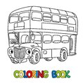 Funny small London bus with eyes. Coloring book Royalty Free Stock Photo