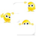 Funny smiley with sign and thumb up vector clip art Royalty Free Stock Photos