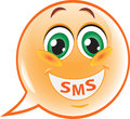 Funny sms smile speech bubble vector illustration Stock Photography